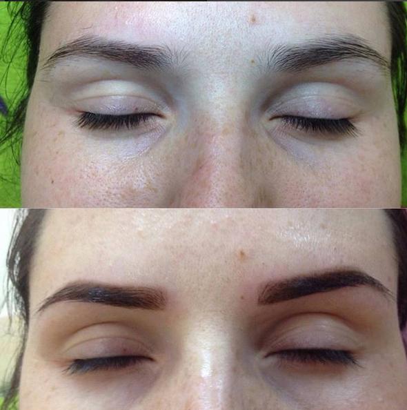 Пудровые брови фото до и после