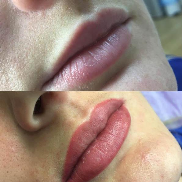 Перманентный макияж губ - работа Анны Корж