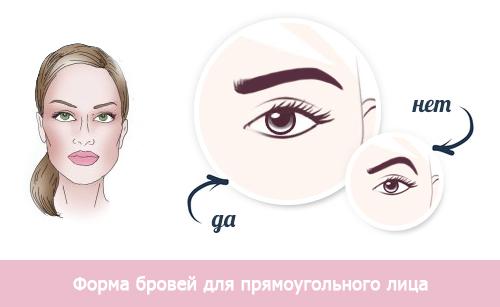 форма бровей для прямоугольного лица